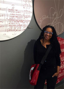 Pamela Z at the offices of the American Composers Forum